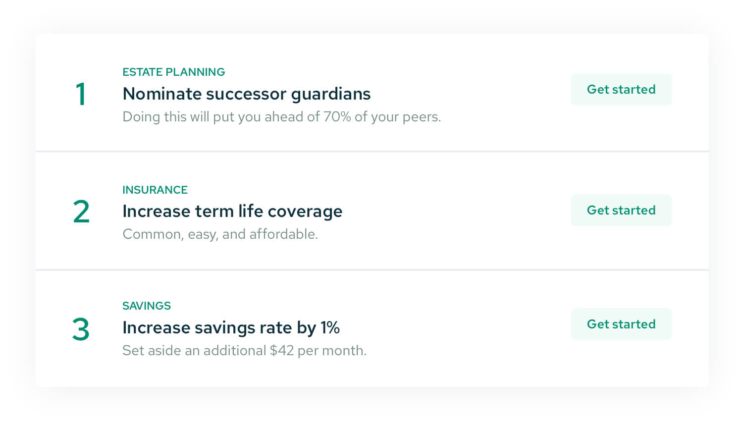 A sample screenshot of the Action Items page within a free financial plan, showing that this example user could nominate successor guardians, increase term life coverage, and increase savings rate.