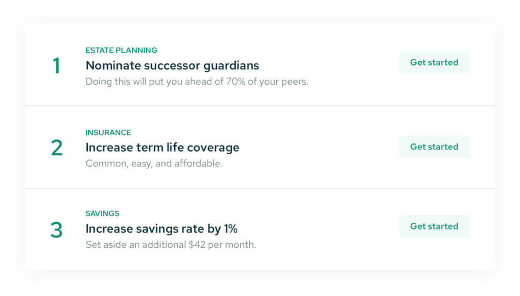 Personalized actions items from Savology to help you improve your financial well being